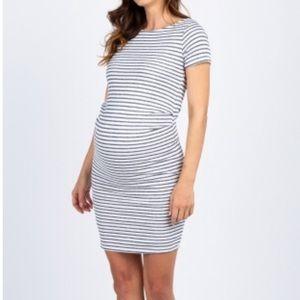 Ivory navy striped maternity dress. Size Small